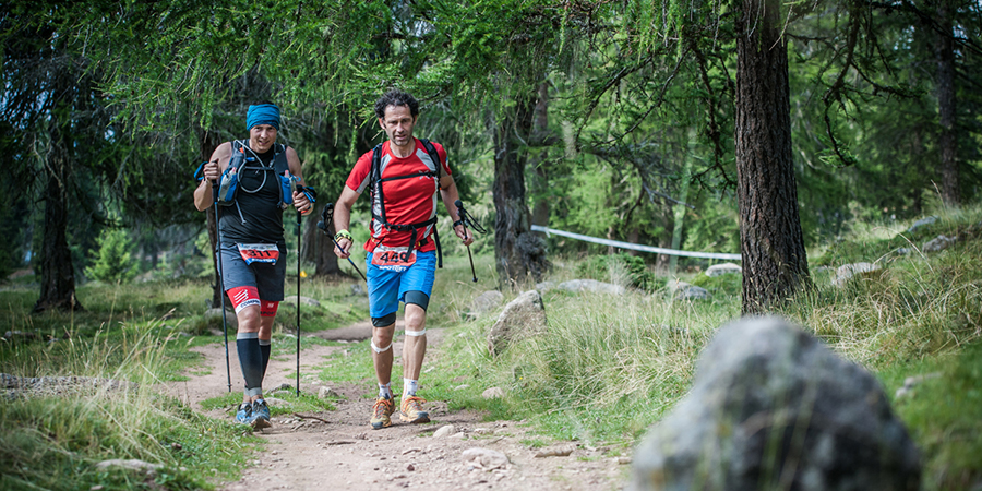 "Extreme running race along the high mountain trail ""Hufeisentour"""